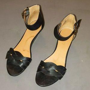 Nine West black mini wedge ankle strap sandal 7m